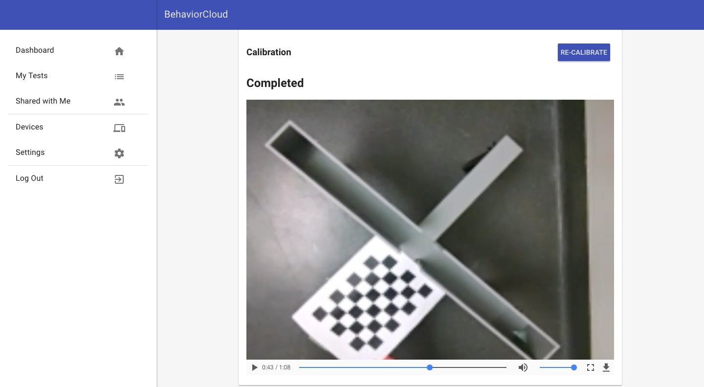 Calibrating distance with checkerboard pattern