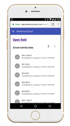 Smartphone showing data stored in BehaviorCloud account